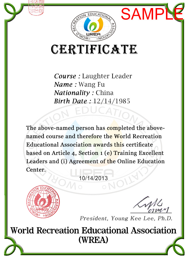 Wreaworld recreation educational association sample view of the certificate of the wrea yadclub Choice Image